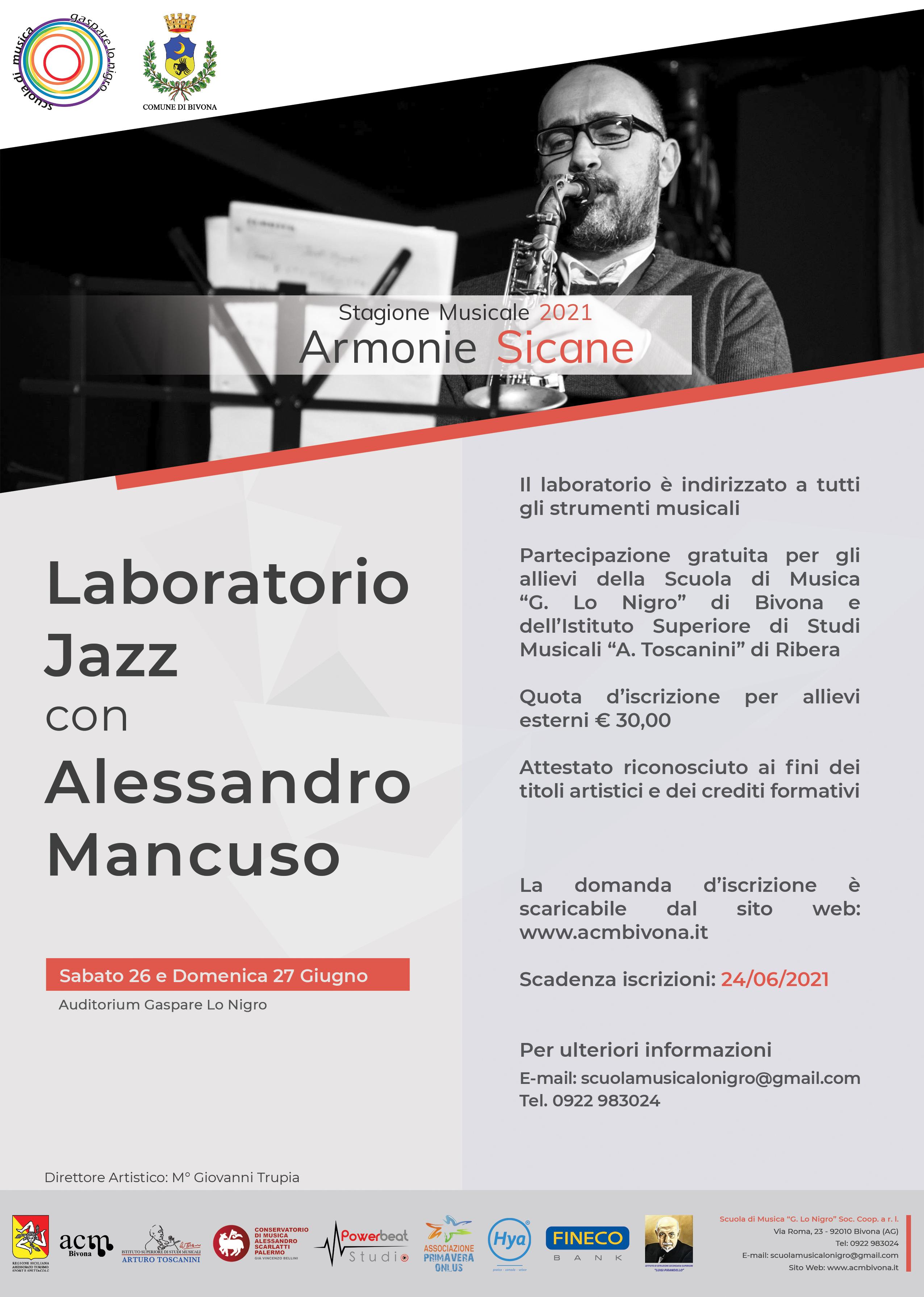 Locandina Laboratorio Jazz - Alessandro Mancuso