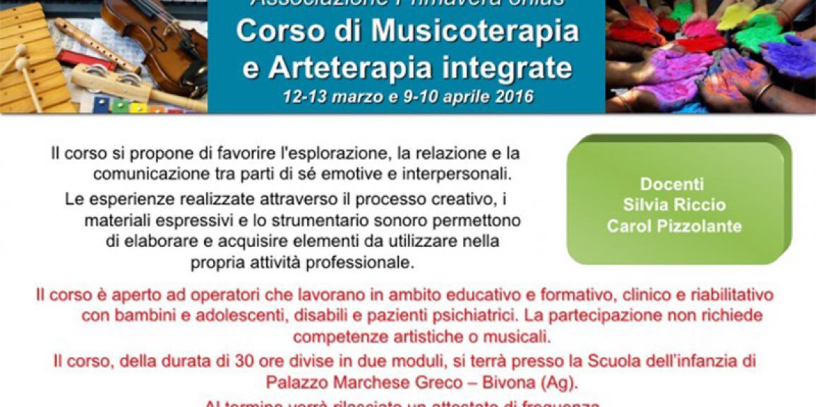 CORSO DI MUSICOTERAPIA E ARTETERAPIA INTEGRATE