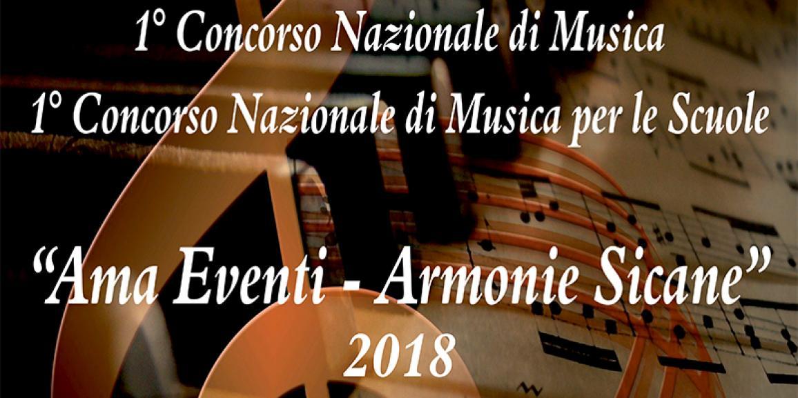 """Calendario 1° Concorso Nazionale di Musica """"AMA Eventi – Armonie Sicane"""" 2018"""